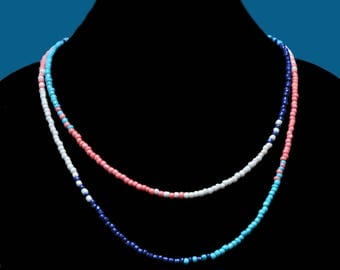 """Fun seed bead necklace with """"beachy"""" summer colors!"""