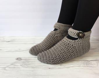 Crochet women slippers, knitted slippers, women slippers, crochet slippers, gray slippers, Winter Socks, House Shoes, Turkish Patik