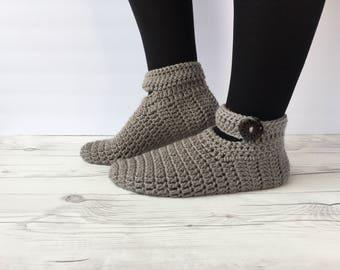 Crochet women slippers, crochet slippers, women slippers, knitted slippers, gray slippers, Winter Socks, House Shoes, Turkish Patik