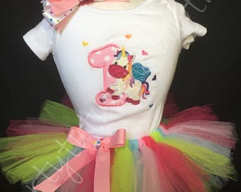 Unicorn Birthday Tutu outfit/Unicorn first birthday/first birthday outfit/Embroidered unicorn top