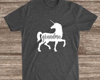 Grandma Unicorn Dark Heather Grey T-shirt - Grandma Unicorn Shirt - Grandma Shirts