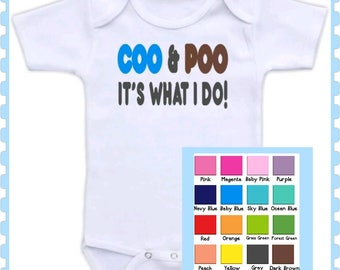 Coo and Poo, Baby Girl or Baby Boy Onesie, Preemie, Twins, Newborn, Funny, Cute, Onesie, Choice Of Colors