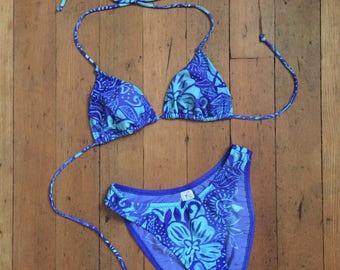 vintage 1960s bikini // 60s two piece blue floral swimsuit