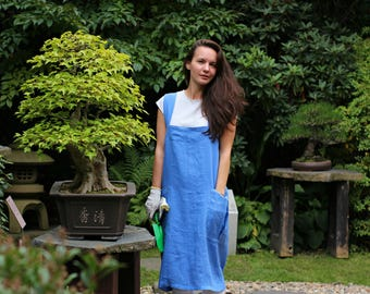 Linen apron for florist, Japanese apron, Linen woman apron, Linen Pinafore Apron, Long apron, Natural apron, Comfortable apron, full apron