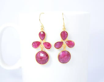 ruby earring,red color earring,ruby dangle earring,round earring ,pear shape earring,gold plating earring,gemstone dangle earring,