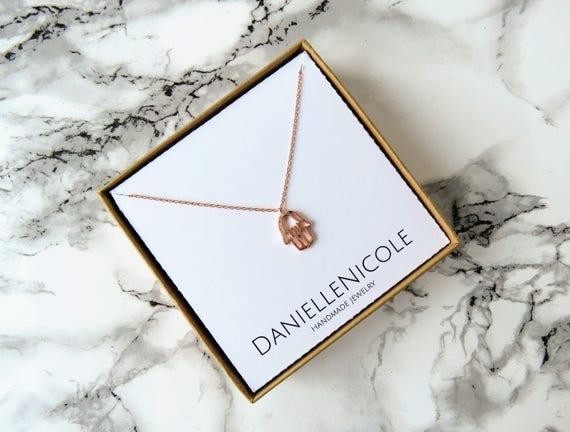 Dainty Rose Gold Hamsa Necklace, Double Hamsa Necklace, Hamsa Hand Necklace, Dainty Necklace, Pendant Necklace, Everyday Jewelry, Boho Chic