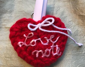 "Hand crochet ""LOVE NOTE"" heart"