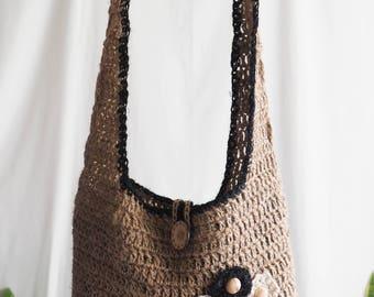 handmade crochet hemp crossbody shoulder tote bag
