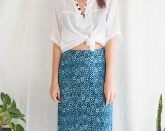 vintage blue floral maxi skirt geometric