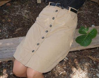 Khaki Tommy Hilfiger Button Up Skirt / L