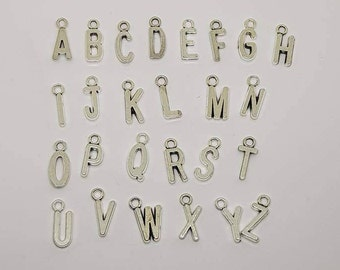 26 Initial Charms, A-Z, 16mm, Silver Letter Charms, Jewellery Making Supplies, Jewelry Making, Necklace Supply Pendant