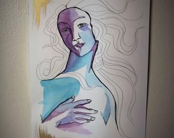 """Original Watercolor Reproduction Painting - """"Venus"""""""