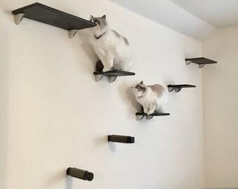 Contempo 7pc Cat Wall Shelf Set (2 Cat Shelves, 3 Cat Steps U0026 2