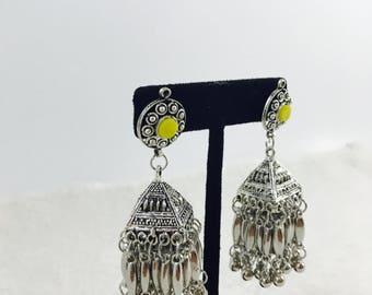 Square Jhumka/ Oxidized Silver Earrings/ Oxidized Silver Jewelry/ Navratri Jewelry/Navratri Earrings/ Garba Jewelry