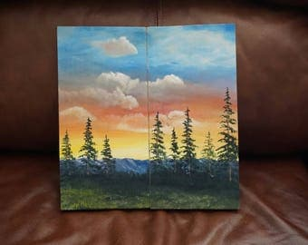 As Good As It Gets, Oil Painting On Pine Wood, 2 Piece Companion Set, Ready To Ship
