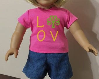 18 inch doll SHIRTS for St Patrick's Day lucky shamrocks clovers