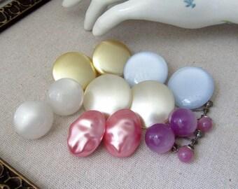 Vintage Earring Lot , Clip On, Destash , Vintage Elements, Repurpose Supplies