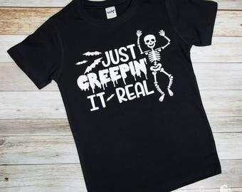Just Creepin It Real - Boy Halloween Shirt - Boys Halloween Shirt - Boys Shirt -  Halloween Shirt - Halloween Tee - Glow in the Dark Option