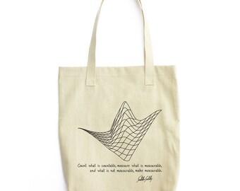 Galileo Quote and Waveform art tote bag