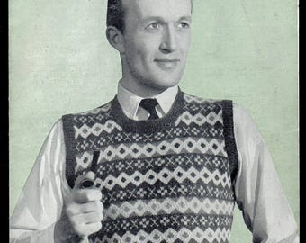 Bestway Man's Fair Isle Slipover Knitting Pattern 2005, 1940s