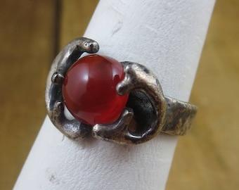 Vintage Modernist Ring Size 6.5 Dark Orange Chalcedony Sterling Silver 925