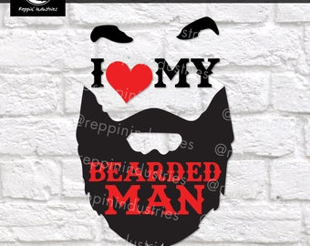 Beard Svg, Beard Shirt, Wife Svg, Wife Gift, Girlfriend Gift, Gift for Her, Heart Svg, Svg, Dxf, Svg Files for Cricut, Vinyl Decal