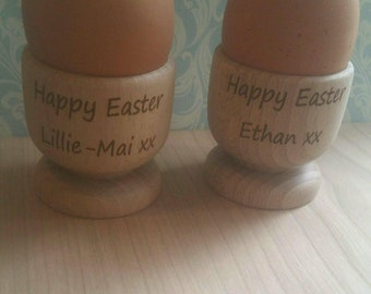 Egg cups, wooden, personalised