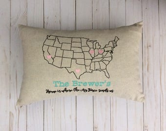 Us Map Cushion Cover Etsy - Us map pillow personalized