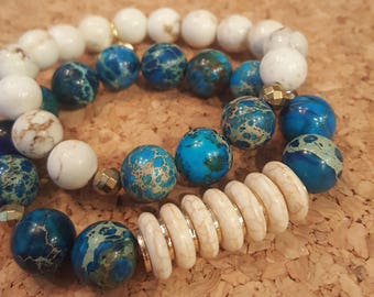 Blue Sea Sediment Jasper Bracelet Duo