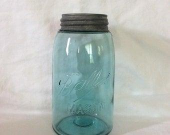 20% off!! Antique blue Mason jar, Circa 1896-1910/Antique hand blown Mason jar/Antique Ball Mason jar/Wedding centerpiece/Kitchen decor