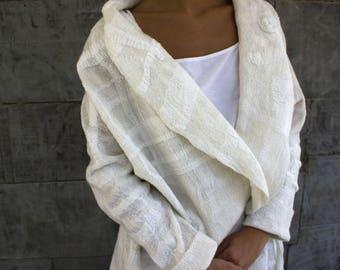 Women coat, wearable art, nuno felted coat, designer coat, Hand made, felted jacket, eco-fashion, wool Coat , warm coat, clothing