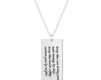 """May the Sun Inspirational Rectangular Dog Tag Pendant with Stainless Steel, 18"""" Chain Necklace"""