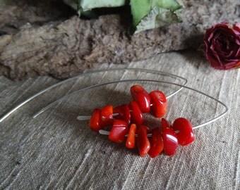 Raw red coral sterling silver hoop modern urban tribal long big boho earrings gift women