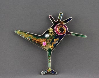 Yossi Steinberg Abstract Modernist Mixed Materials Acrylic Bird Pin