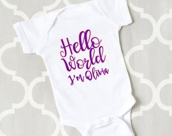 Hello World Baby Custom Name Bodysuit, Customized Hospital Outfit, Custom Going Home Outfit, Newborn Take Home Outfit, Girl Going Home