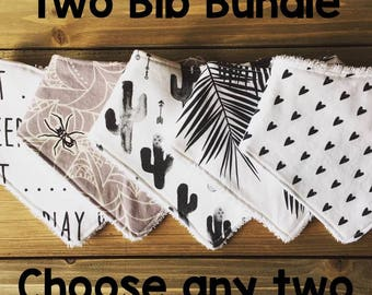 Baby Bib Bundle - Choose Any Two Bibs - Side Fastener or Bandana Bibs - Baby Shower Gift