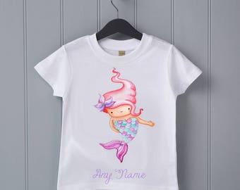 Mermaid personalised T-shirt - baby shower gift, toddler top, first birthday, childrens T-shirt, baby T-shirt, baby mermaid, sea birthday