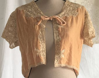 Vintage 1930's Velour Bed Jacket