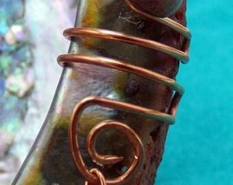 Vidar-  cuff/climber with rhodonite stone, goldstone handmade copper wire, non-piercing, bohemian, gypsy, cosplay, artisan style dangle