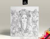 Coloriage - La Femme aux Papillons - Portrait 4 - Page de coloriage pour adultes - Dessin HD à imprimer soi-même