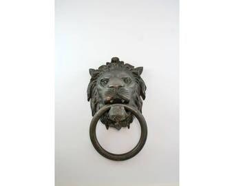 Antique Very Large  Brass Lions Head Door Knocker