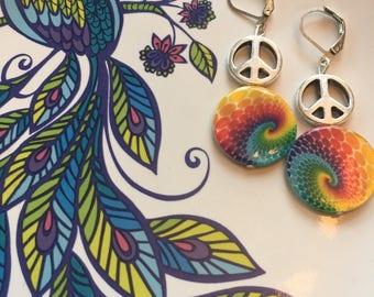 Colorful peace earrings
