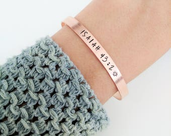 Personalized Scripture Bracelet // Custom Engraved Bible Verse + Friendship Bracelet + Mantra + Copper Bracelet + Christian Bracelet