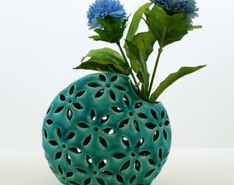 Turquoise Ceramic Vase, Home Decor, Handmade Ceramic Vase, Modern Vase, Pottery Handmade, Modern Decorative vase with cut outs