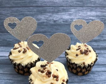 Heart Cupcake Topper Silver or Gold - Wedding, Bridal Party, Valentine Cupcake Topper x 12
