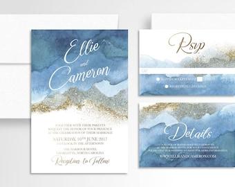 Ombre Navy Watercolor Gold Wedding Invitation // Invitation Suite //Watercolor Wedding Invitation // Wedding Stationery // Navy Gold Ombre