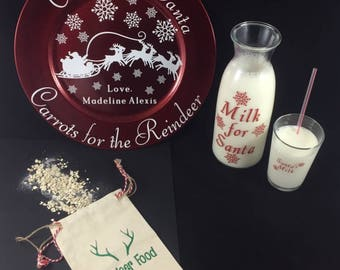Cookies for Santa plate, Carrots for the Reindeer, Plate, Carafe, Cup, Reindeer Food, Santa plate, Milk for Santa, santa milk, Cookie Plate