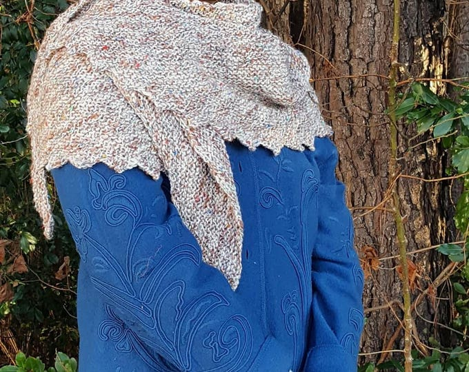 Handmade Knitted Large Hitchhiker Shawl Wrap Garter Stitch Patons Gypsy Tweed Beige Neutral Warm and Soft