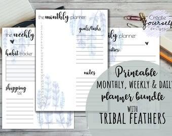 Printable planner, printable monthly weekly daily planner bundle, planner kit, watercolor printable planner set, printable planner pages