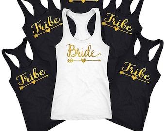 bachelorette party shirt, bridesmaid Shirts, bridal party shirts, Tribe shirt, tribe tank, Bridesmaid set of 5,6,7,8,9, bridesmaid gift D106